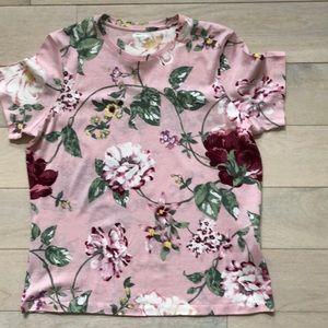 NWOT WinterSilks Silk/Cotton floral print T-shirt